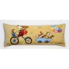 Подушка гобеленовая Велопрогулка собачки 35x90 см, фото 1