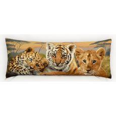 Подушка гобеленовая Дикие кошки 35x90 см, фото 1