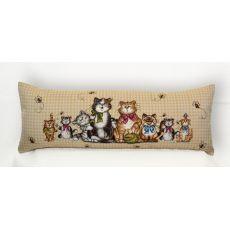 Подушка гобеленовая Коты и пчёлы 35x90 см, фото 1