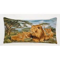 Подушка гобеленовая Африканские львы 35х55 см, фото 1