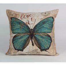 Подушка гобеленовая Бабочка зелёная 45х45 см, фото 1