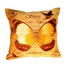 Подушка гобеленовая Бабочка шоколад 45х45 см, фото 1