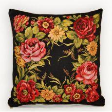 Подушка гобеленовая Когда розы цветут тёмн 35х35 см, фото 1