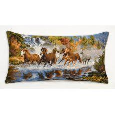 Подушка гобеленовая Лошади у водопада 35х65 см, фото 1